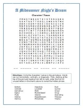 A Midsummer Night's Dream: Character Word Search w/Hidden Message