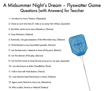 A Midsummer Night's Dream – Fun Flyswatter Game for Shakespeare Review