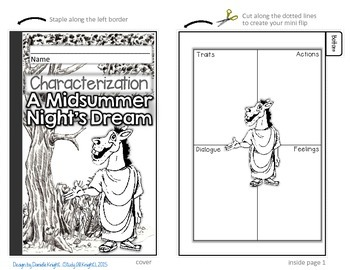 A MIDSUMMER NIGHT'S DREAM: INTERACTIVE NOTEBOOK CHARACTERIZATION MINI FLIP