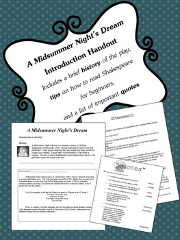 A Midsummer Night's Dream Introduction Handout