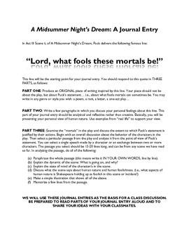 A Midsummer Night's Dream Journal Entry