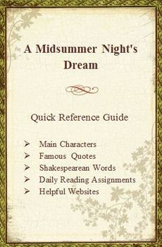 A Midsummer Night's Dream Quick Reference Pamphlet Bookmark