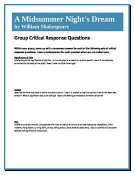 A Midsummer Night's Dream - Shakespeare - Group Critical Response Questions