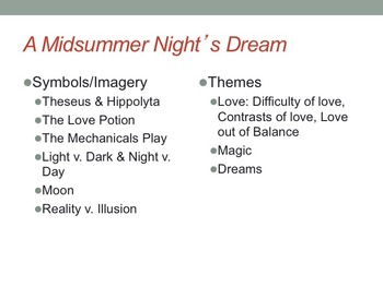 A Midsummer Night's Dream Symbols, Imagery and Themes PowerPoint