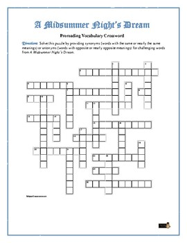 A Midsummer Night's Dream: Synonym/Antonym Xword—Use w/Bookmarks Plus!
