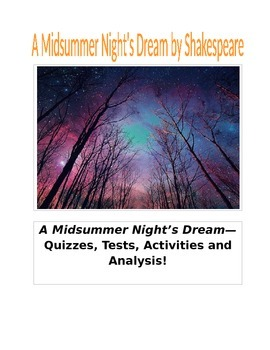 A Midsummer Night's Dream by Shakespeare Quizzes, Tests, Activities, Analysis
