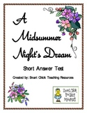 """A Midsummer Night's Dream"", by W. Shakespeare, Short Answer Test"