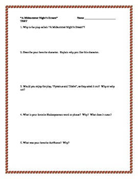 """""""A Midsummer Night's Dream"""", by W. Shakespeare, Short Answer Test"""