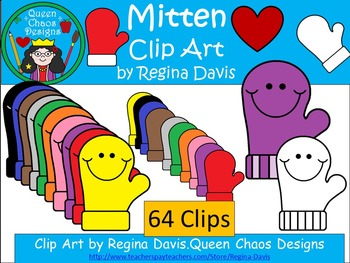 A+ Mittens Clip Art...Color And Black And White Included