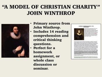 """A Model of Christian Charity"" - John Winthrop - US History/APUSH"