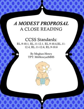 A Modest Proposal - A Close Reading