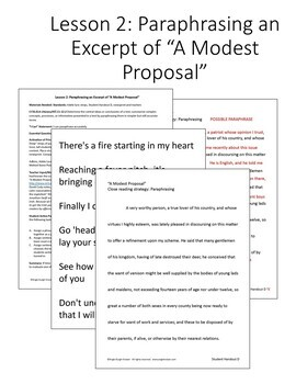 """""""A Modest Proposal"""" Paraphrasing and Summarizing {4 Lessons}"""