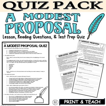 A Modest Proposal Quiz Lesson Plan Jonathan Swift Ela Satire