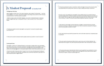 A Modest Proposal study guide and discussion questions