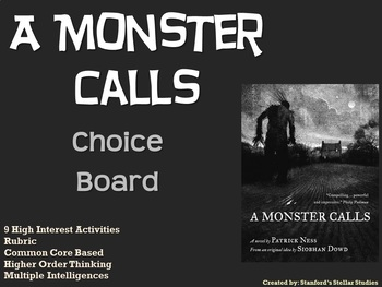 A Monster Calls Choice Board Novel Study Activities Menu Book Project Rubric