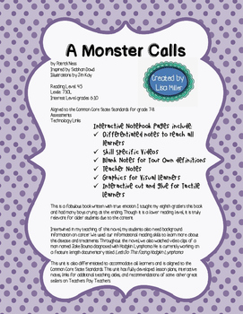 A Monster Calls Novel Unit with Differentiated/Interactive