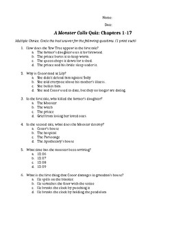 A Monster Calls Quiz Chp. 1-17