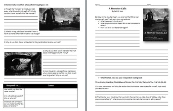 A Monster Calls - Reading Guide, Comprehension Questions and Activities