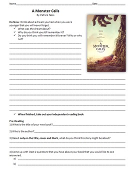 A Monster Calls - Reading Guide, Comprehension Questions a