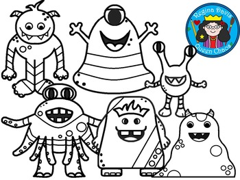 A+ Monsters Clip Art...Color And Black And White Included