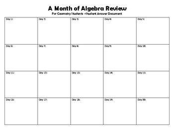 A Month of Algebra Review for Geometry Students