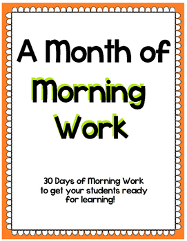 A Month of Bell Work for 1st Grade
