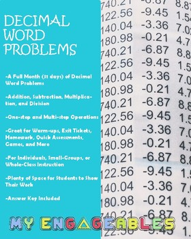 A Month of Decimal Word Problems