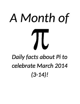 A Month of PI: Daily Announcements to Celebrate March 2014