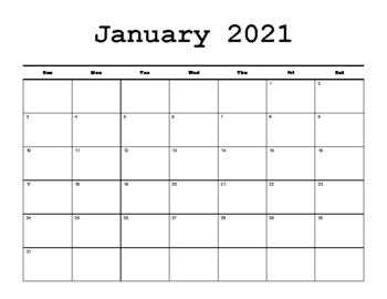 monday to friday calendar