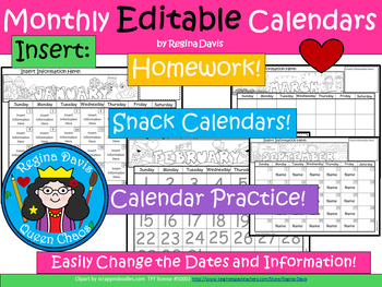 A+ EDITABLE Monthly Calendars: Use For Homework, Snacks & Number Writing