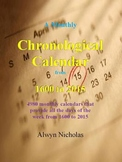A Monthly Chronolgical Calender from 1600-2015