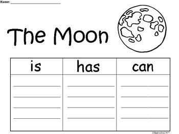A+ Moon ...Three Graphic Organizers