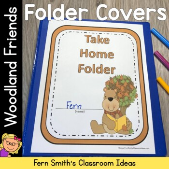 Student Binder Covers Woodland Moose and More Friends Student Work Folder Cover