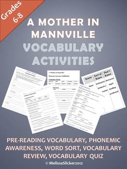 """""""A Mother in Mannville"""" Vocabulary Activities"""