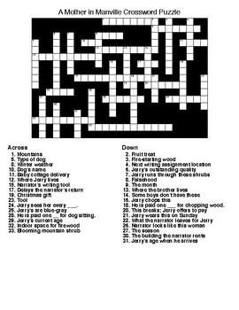 A Mother in Manville Crossword and Word Search Puzzles.