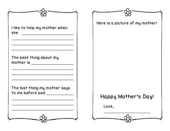 A Mother's Day  Booklet  All About My Mother