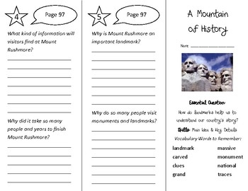 A Mountain of History Trifold - Wonders 3rd Grade Unit 1 Week 5