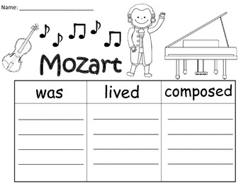 A+  Mozart... Three Graphic Organizers