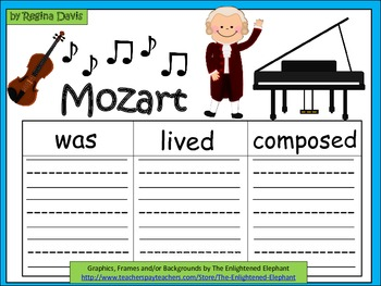 A+  Mozart... Three Graphic Organizers