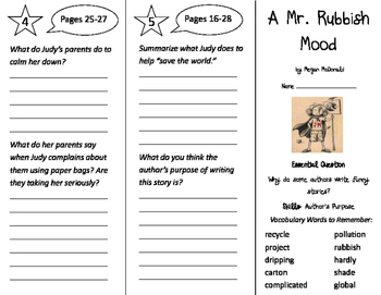A Mr. Rubbish Mood Trifold - Journeys 3rd Grade Unit 4 Week 1
