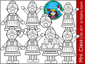 A+ Mrs. Claus Christmas Clip Art...Color And Black And White Included