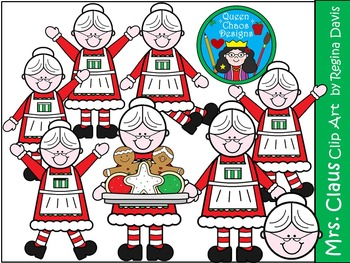 A+ Mrs. Claus Christmas Clip Art...Color And Black And Whi