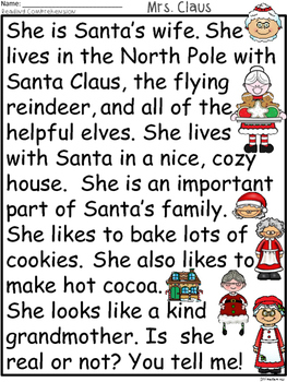 A+ Mrs. Claus Comprehension:Differentiated Instruction For Guided Reading