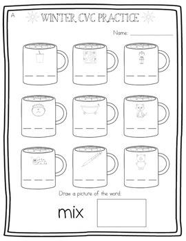 a mug of winter cvc words segmenting consonant vowel consonant 3 levels. Black Bedroom Furniture Sets. Home Design Ideas