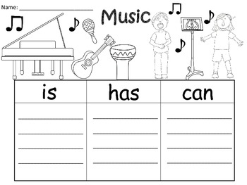 A+  Music... Three Graphic Organizers