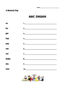 A Musical Day - Journeys 1st Grade- ABC Order