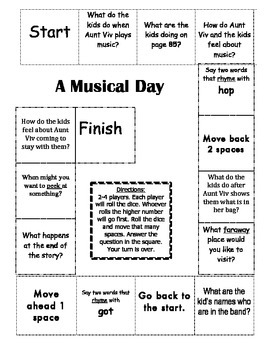"""""""A Musical Day"""" Comprehension Game Board- Journeys story 1st grade"""