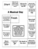 """A Musical Day"" Comprehension Game Board- Journeys story 1st grade"