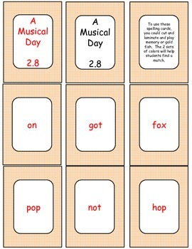 A Musical Day Supplemental Activities for Journey's Unit 2 Lesson 8