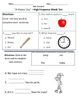 A Musical Day - Vocabulary & Comprehension Test/Quiz (Journeys)